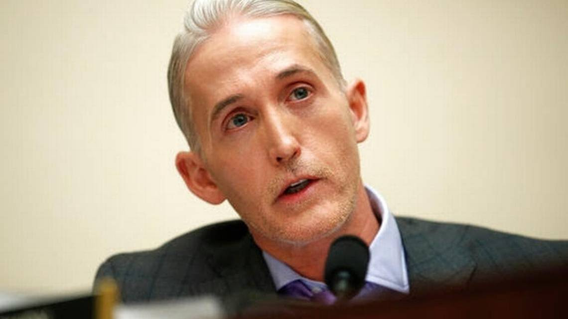 In this Dec. 7, 2017 file photo, House Judiciary Committee member Rep. Trey Gowdy, R-S.C., speaks during a House Judiciary hearing on Capitol Hill in Washington. Democratic members of the House oversight committee are asking the Republican chairman to subpoena the Trump Organization to produce long-ago requested documents, and to begin a serious investigation into President Donald Trump's conflicts of interests. The letter was sent to Chairman Trey Gowdy of South Carolina on Thursday _ the one year anniversary of Trump's news conference announcing efforts to avoid conflicts.