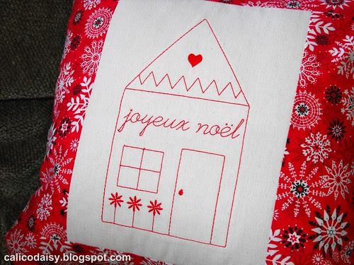 joyeux noel embroidered pillow