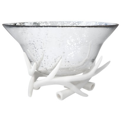 Deer Antler Holder Mercury Glass Bowl