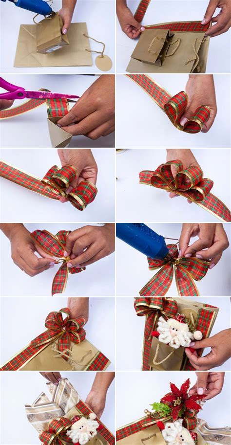 DIY Christmas gift wrap ideas   Handmade bows, gift bags