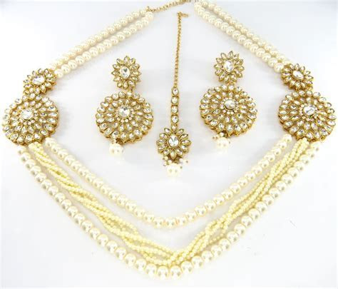 Elegant Artificial Costume Jewellery   Clear Stone Studded