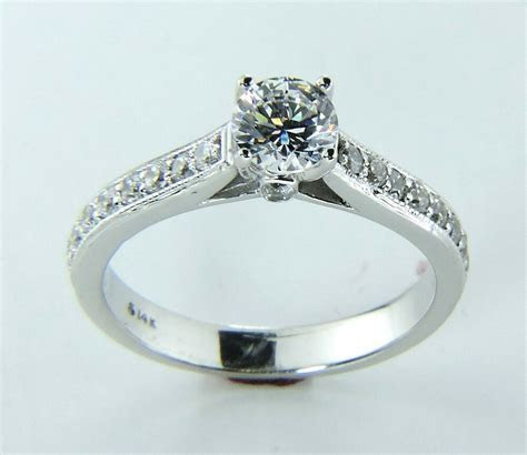 Diamond Engagement Ring Solid 14K White Gold Band 1 carat