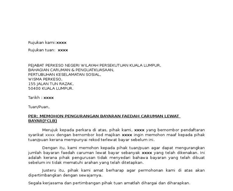 Contoh Surat Rayuan Tuntutan Perkeso Persoalan R