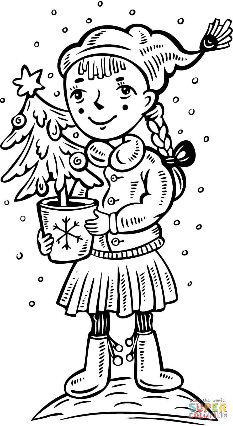 A Girl with a Christmas Tree coloring page | Free ...