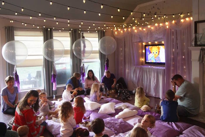 Karas Party Ideas Popcorn Pajamas Purple Movie Night Karas
