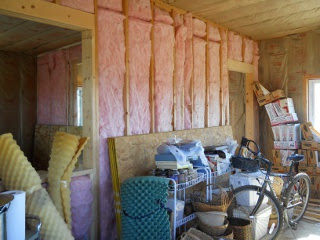 Summer Kitchen Main cross wall Insulated--View from Main Room