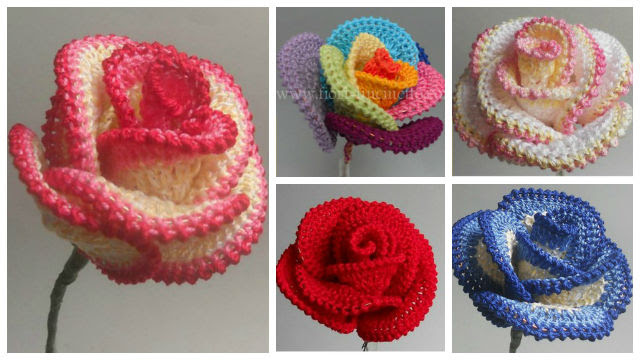 DIY Crochet Flower + Free, Easy Rose Crochet Pattern... I will ... | 360x640