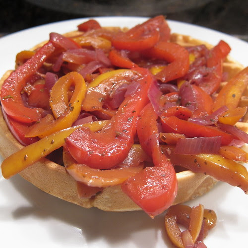 Sausage Waffles with Peppers & Onions