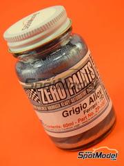 Pintura  Zero Paints - Gris aluminio Ferrari - Ferrari Grigio Alloy - Silver  Met - Code: 750 - 60 ml   - para Aerógrafo