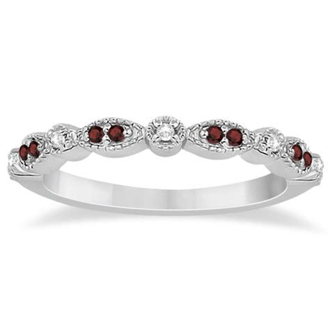 Marquise and Dot Garnet & Diamond Wedding Band Platinum 0