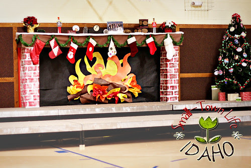 Elementary Holiday Program Fireplace Backdrop