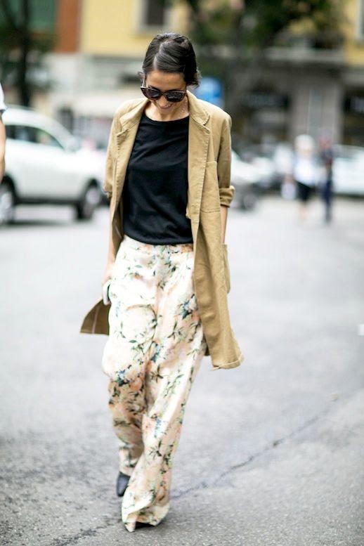 Le Fashion Blog Street Style Sunglasses Tan Blazer Black Tee Floral Print Wide-Leg Pants Via Style Caster
