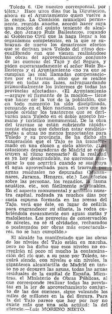 Artículo de Luis Moreno Nieto sobre la contaminación del río Tajo. Diario ABC del 7-6-1974