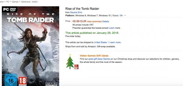 Amazon Perancis menuliskan Januari 2016 sebagai tanggal rilis Rise of the Tomb Raider versi PC.