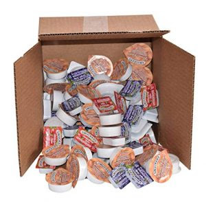 A box of jelly packets spills its contents