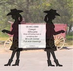 Cowgirl Silhouette Yard Art Woodworking Pattern - fee plans from WoodworkersWorkshop® Online Store - cowgirls,ranchers,cowhands,cattleman,yard art,painting wood crafts,drawings,plywood,plywoodworking plans,woodworkers projects,workshop blueprints