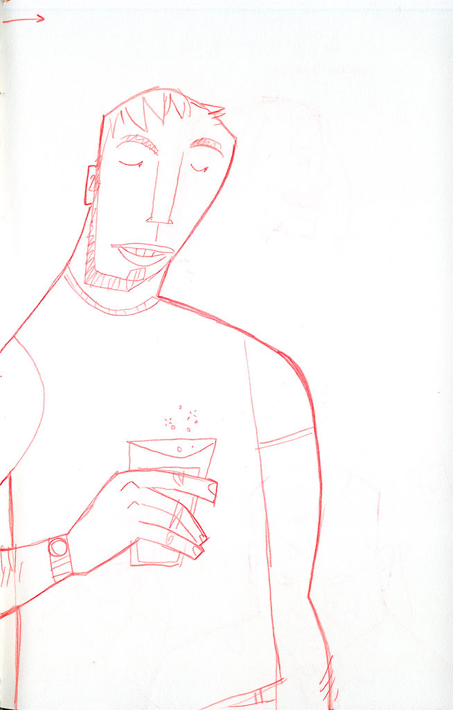sketch of guy with drink