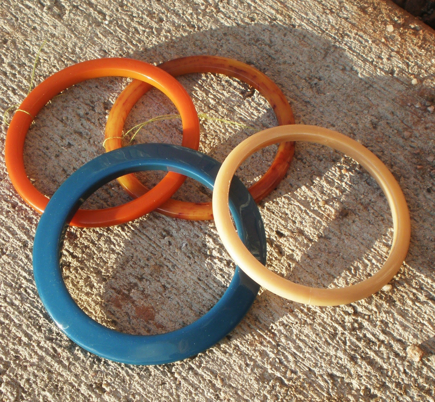 Teal and  Earth Toned Bakelite and Lucite Plastic Bangles