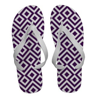 Purple and White Meander Flip Flops