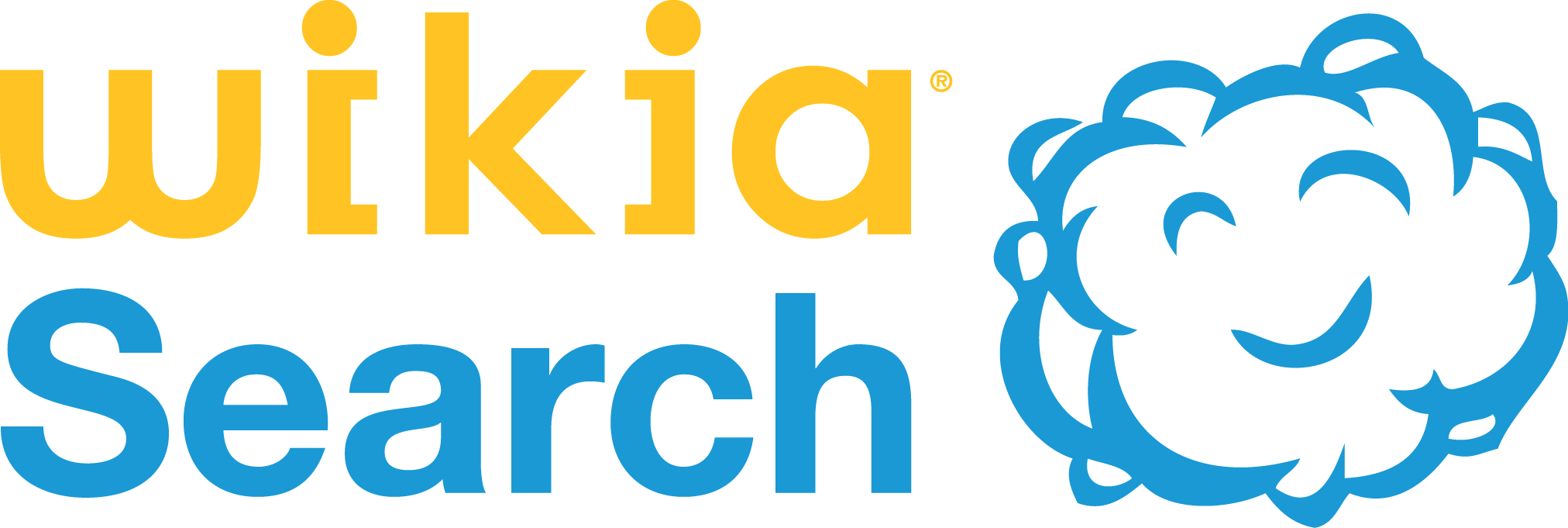"The logo for Jimmy Wales' ill-fated ""Wikia Search"", featuring the words ""wikia search"" in yellow and blue, next to a picture of a smiling blue cloud."