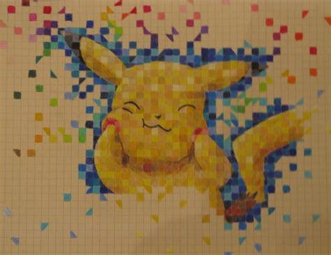 graph paper drawings  cartoons pikachu graph paper