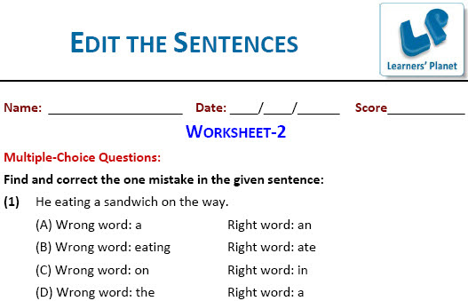 English Grammar Practice Worksheets Edit The Sentences For Cbse Students