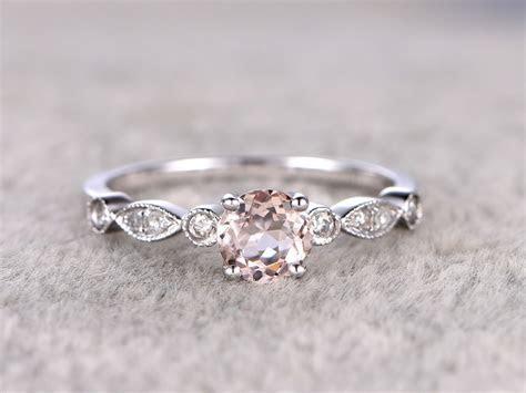 0.5 Carat Round Morganite Engagement Ring Diamond Promise