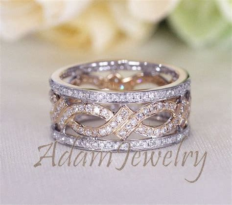 Unique Two Tone Full Eternity Diamonds Ring Solid 14K