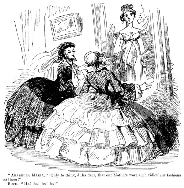 Two women in exaggeratedly enormous hoopskirts make fun of a Regency portrait