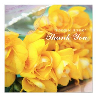 Yellow Freesias Thank you Announcements