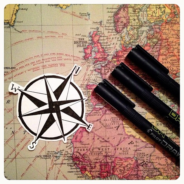 Day 2: instrument. A compass is an #instrument used to measure direction. I was going to draw a more complicated one but decided this will be much more fun to use in my crafts.  My pen ran out last week so I went in search of some new ones I came across t