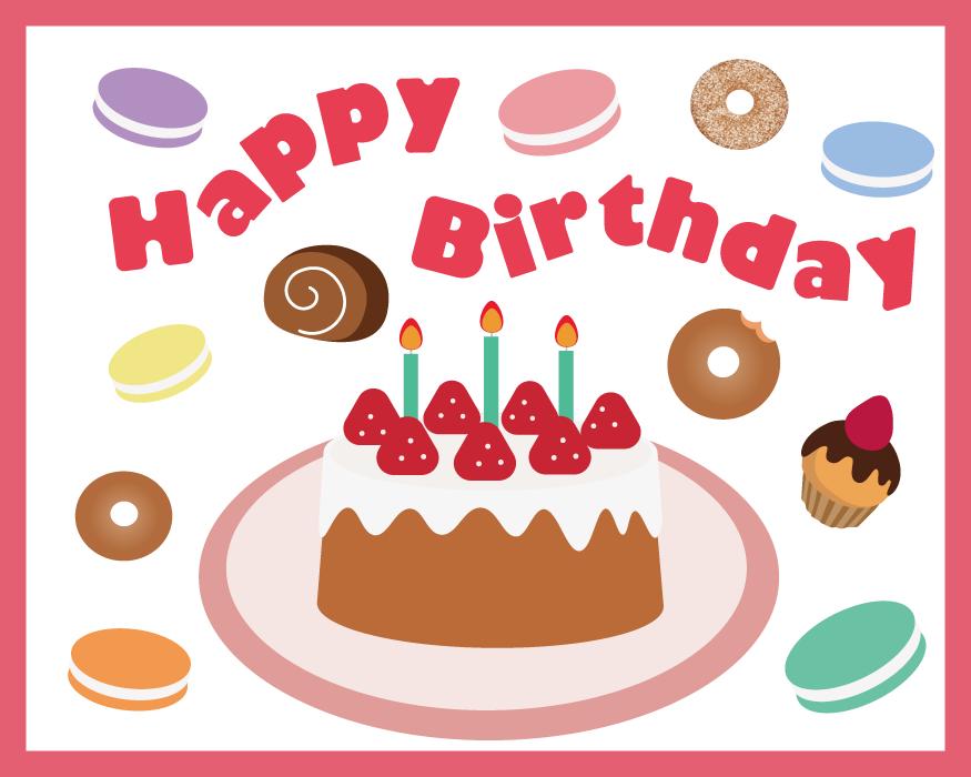 フリーイラスト バースデーケーキと誕生日の背景でアハ体験 Gahag