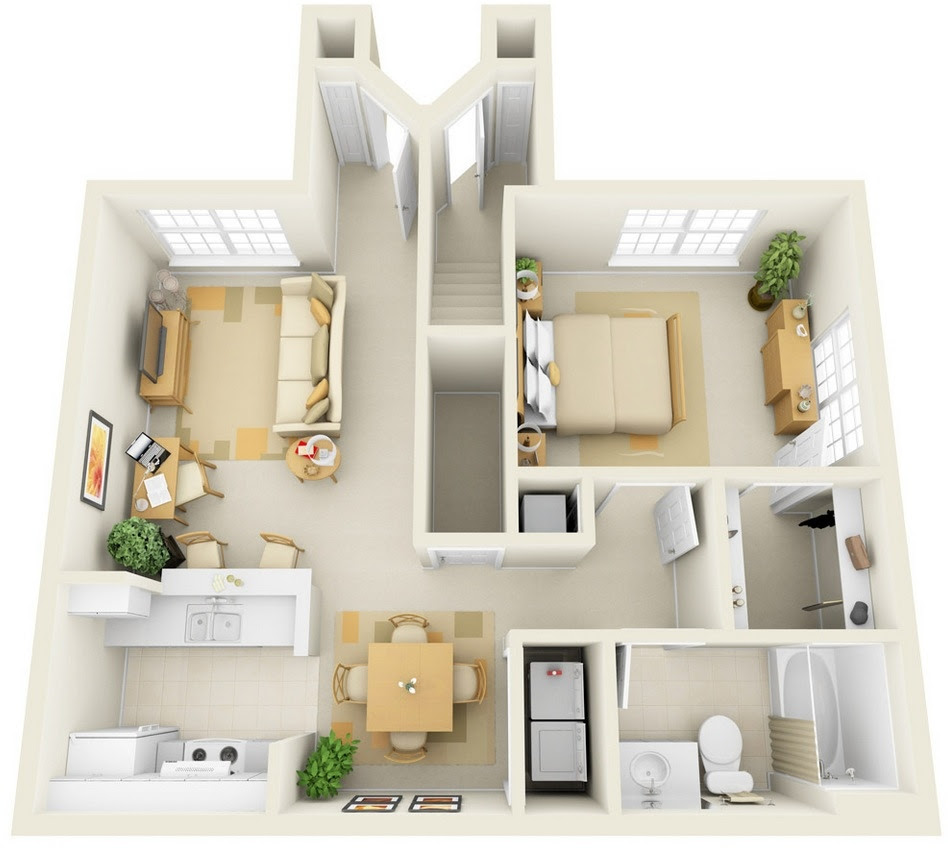 1 Bedroom Apartment/House Plans