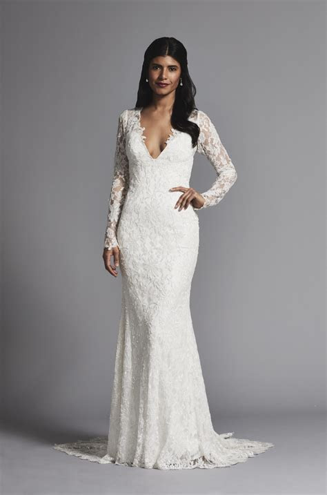Romantic V neck Lace Long Sleeve Sheath Wedding Dress