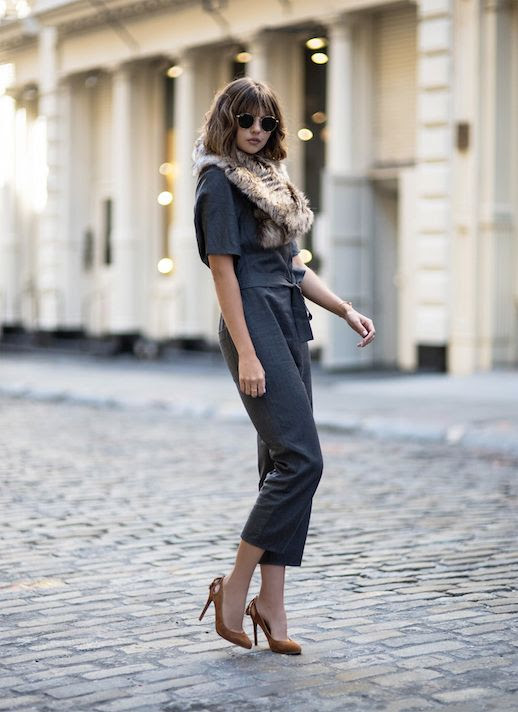 Le Fashion Blog Grey Jumpsuit Faux Fur Camel Heels Via Badlands Blog