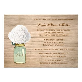 Country Rustic Mason Jar Hydrangea Bridal Shower Custom Invites