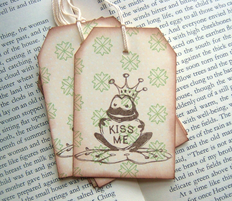 KISS ME Frog Prince Hang Tags - Vintage Inspired