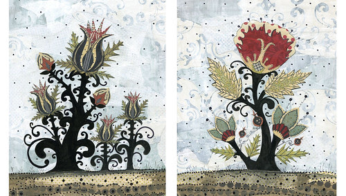 Folk Flowers by sarahogren