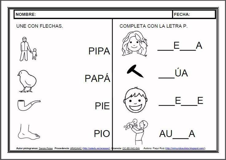 MATERIALES - Fichas de lectoescritura - P.    Fichas para el aprendizaje de la lectoescritura en letra mayúscula.    http://arasaac.org/materiales.php?id_material=983