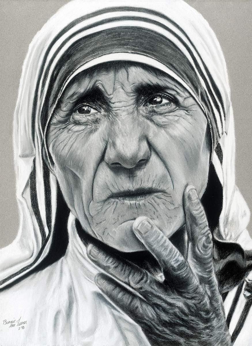 Portrait Of Mother Teresa By Fine Artist Bonnie Lee Turner