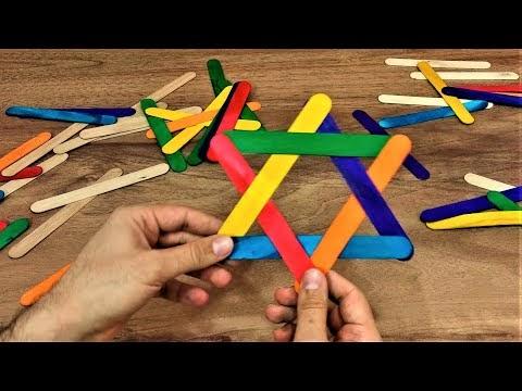 Renkli dil çubuklarından dekoratif şekiller yapmak (yapıştırıcısız)