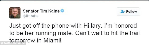 Kaine then confirmed the news on Twitter. He'll campaign with her tomorrow in Miami, Florida