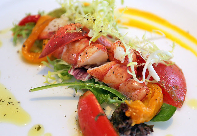 ASTICE: Sweet Half Maine Lobster Dressed in Coral Style of Roasted Peppers and Basil Salad