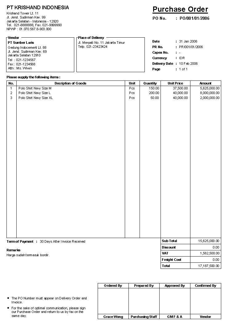 Download Gratis Software Purchase Order / Software
