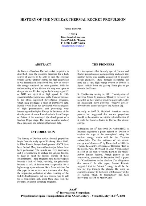 (PDF) HISTORY OF THE NUCLEAR THERMAL ROCKET PROPULSION