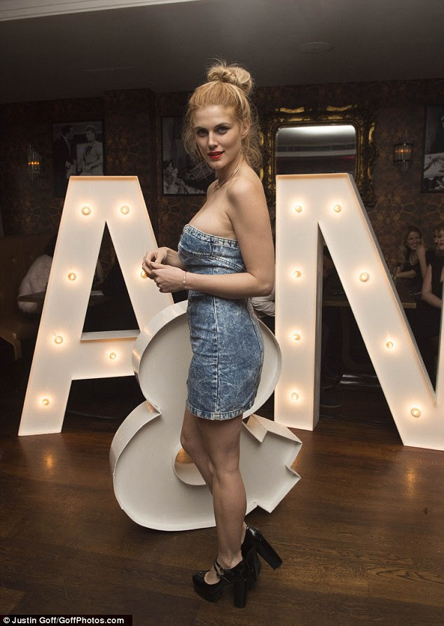 Doubling the denim! Ashley James stepped out in another daring look when she attended the engagement party of charity PR and TV presenter Nice Ede and fashion PR Andrew Naylor at London's Soho Sanctum Hotel on Saturday night
