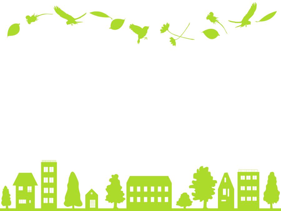 フリーイラスト 鳥と植物と街の緑のシルエットの飾り枠でアハ体験