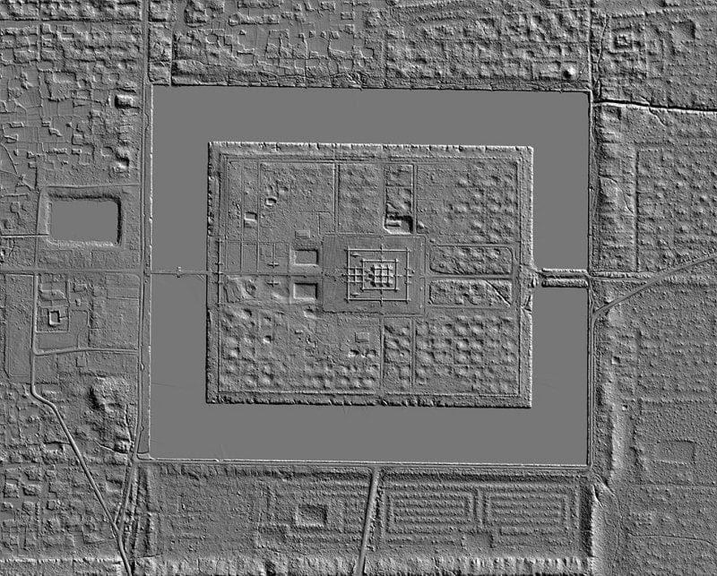 An aerial LiDAR Image of Angkor Wat