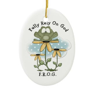 Frog and Sunflowers Oval Ornament ornament
