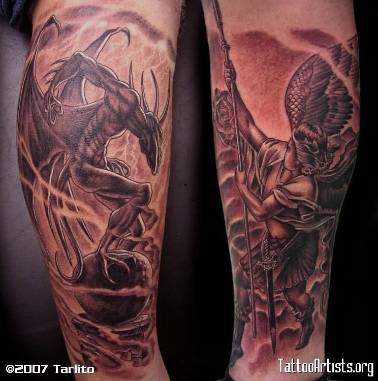 Angels Vs Demons Tattoo Sleeve